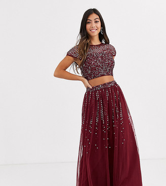 Maya Petite Bridesmaid delicate sequin top co ord in wine-Red