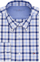 Tommy Hilfiger Men's Slim-Fit Comfort Wash Blue Check Dress Shirt