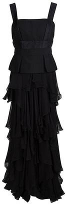 Alexander McQueen Black Tiered Sleeveless Peplum Gown M