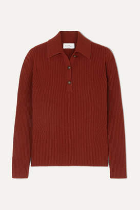 Salvatore Ferragamo Button-detailed Ribbed Wool And Cashmere-blend Sweater - Burgundy
