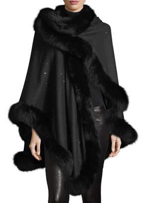 Sofia Cashmere Fox Fur-Trimmed Cashmere Sequin U-Cape