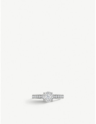 VASHI Modern Side Stone 18k white-gold and diamond engagement ring