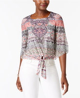 JM Collection Petite Printed Tie-Front Blouse, Only at Macy's