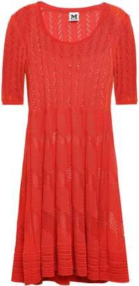 M Missoni Pleated Crochet-knit Mini Dress