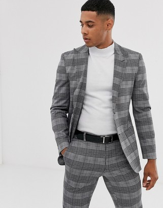 ONLY & SONS checked peak lapel suit jacket in grey