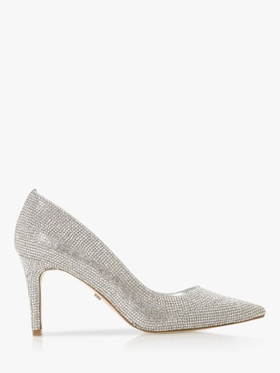 Dune Bombshell Stiletto Heel Court Shoes, Silver