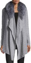 Neiman Marcus Cashmere Cardigan w/ Removable Fox-Fur Collar Cardigan, Gray