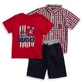Nannette Little Boys Gingham Sportshirt, Graphic Tee and Knit Shorts Set