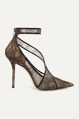 Jimmy Choo Hadlea 100 Leather-trimmed Corded Lace Pumps - Black
