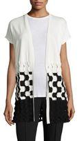 Lafayette 148 New York Matte Crepe Two-Tone Cable-Knit Vest