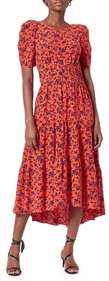 Joie Nadeen Floral Silk Midi Dress