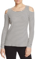 Red Haute Cold Shoulder Stripe Top