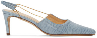 BY FAR Blue Lizard Embossed Slingback Heels
