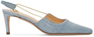 BY FAR Blue Lizard Embossed Slingback Heels