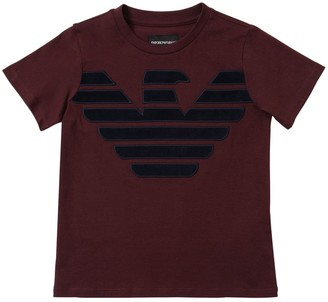Emporio Armani Flocked Logo Cotton Jersey T-shirt