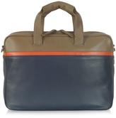 Giorgio Fedon Life File Color Block Leather Briefcase