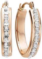 FINE JEWELRY Diamond Fascination 14K Rose Gold Flat Oval Hoop Earrings
