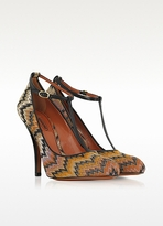 Missoni Orange and Black Fabric Pump