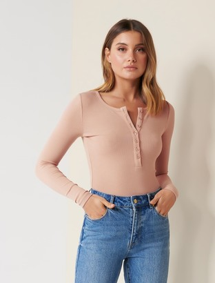 Forever New Celeste Rib Button-Front Top - Nude/Pink - m