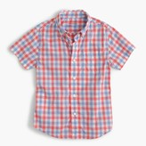 J.Crew Kids' short-sleeve Secret Wash shirt in colorful gingham