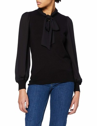 Dorothy Perkins Women's Black Pussybow 2in1 Fine Gauge Jumper Sweater 8