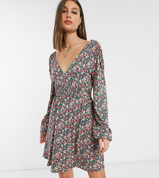 Asos Tall ASOS DESIGN Tall long sleeve mini dress with shirred waist in ditsy print