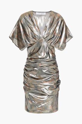IRO Ruched Metallic Silk-blend Mini Dress