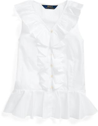 Ralph Lauren Cotton Oxford Peplum Top