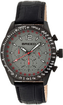 Breed Black & Charcoal Griffin Chronograph Leather-Strap Watch