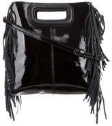 Maje Patent Leather Fringe Crossbody Bag
