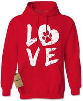 Expression Tees Hoodie Love Dog Paw Print Adult