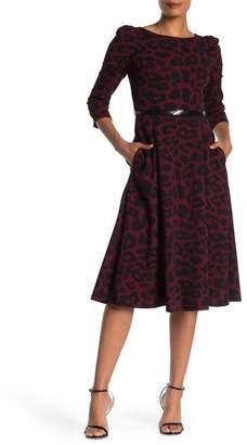 Calvin Klein Belted Animal Print Midi Dress