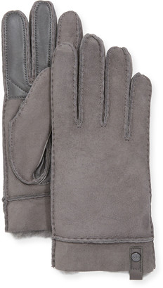 UGG Tenney Suede & Leather Gloves w/ Shearling Lining