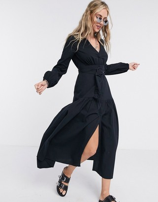 Free People Kendra belted button front midi dress in black