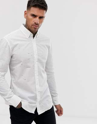 BOSS Mabsoot slim fit art print long sleeve shirt in white