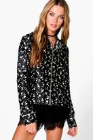 boohoo Maria Floral Pyjama Shirt black