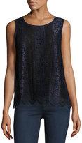 Max Studio Two-Tone Lace Sleeveless Blouse, Navy/Black