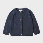 Paul Smith Baby Girls' Navy Cotton-Cashmere Cardigan With Textured Polka Dots