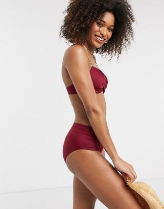 Dorina Filao midi waist bikini bottom in plum