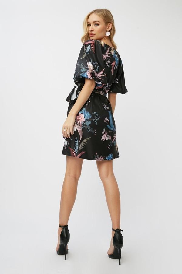 Thumbnail for your product : Little Mistress Laurel Black Floral-Print Mini Wrap Dress