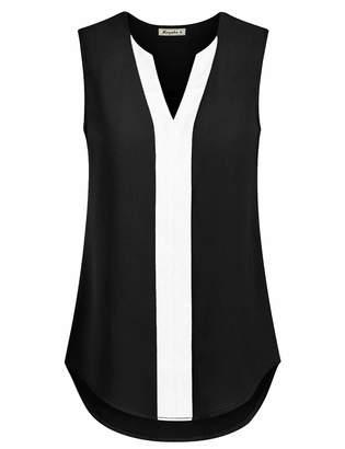 Moyabo Chiffon Tank Tops for Women V Neck Color Block Sleeveless Shirts Loose Blouse Black XX-Large