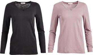 Urban Diction Women's Tee Shirts Black, - Black & Mauve Front Crisscross Top Set - Women & Plus