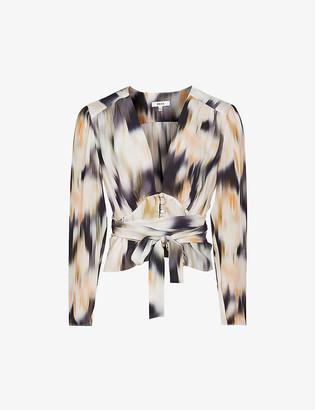 Reiss Alena floral-print crepe shirt