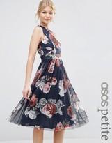Asos Floral Printed Mesh Skirt Midi Dress