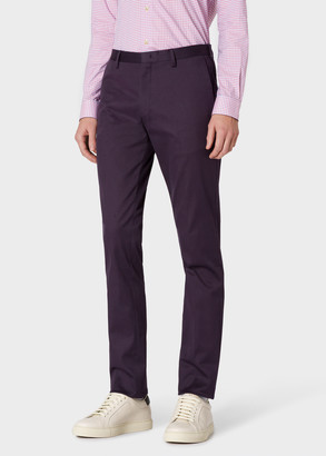 Paul Smith Men's Slim-Fit Dark Purple Stretch-Cotton Chinos