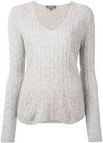 N.Peal diagonal cable V-neck jumper - women - Cashmere - S