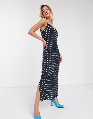 Essentiel Antwerp Veva maxi polkadot slip dress in blue