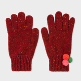 Paul Smith Women's Dark Red Flecked Wool Gloves With Pom-Pom Detail
