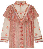 Anna Sui Printed Metallic Fil Coupé Chiffon And Embroidered Tulle Blouse - Pink