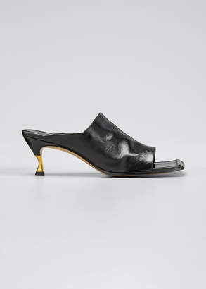 Bottega Veneta Leather Extended Square-Toe Mules